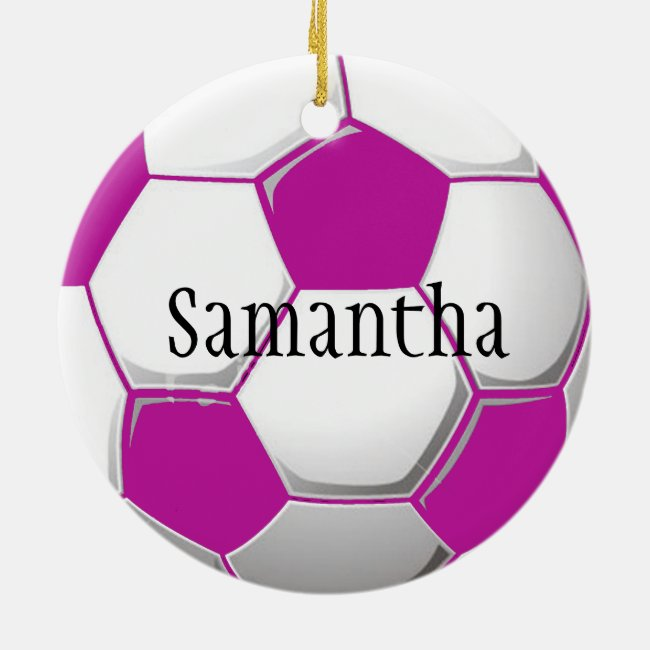 Personalized Pink Soccer Ornament