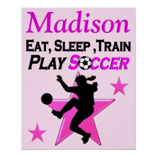 PERSONALIZED PINK SOCCER PLAYER POSTER