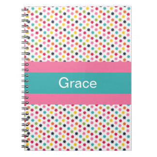 Personalized Pink Stars and Stripe Notebook