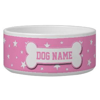 Personalized Pink Stars Dog Bowl