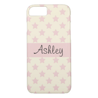 Personalized Pink Stars on Pale Yellow iPhone 8/7 Case