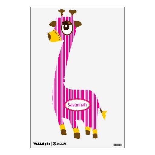 Personalized Pink Stripe Giraffe Wall Decal Baby
