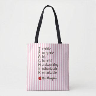 Personalized Pink Stripe Teacher Acronym Tote Bag