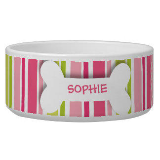 Personalized pink stripes dog bone pet food bowl