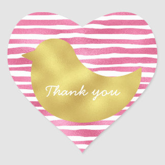 Personalized Pink Stripes Gold Simply Heart Glossy Heart Sticker