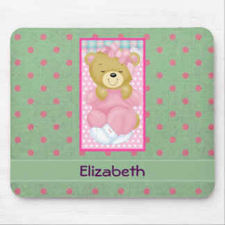 Personalized Pink Teddy Bear on Polka Dots Mouse Pad