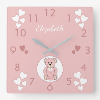 Personalized Pink Teddy Bear Square Wall Clock