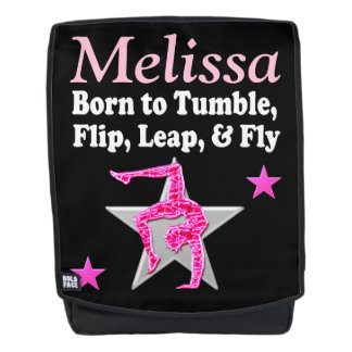 PERSONALIZED PINK TUMBLING GYMNAST BACK PACK BACKPACK