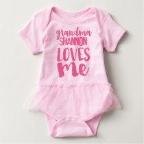 Personalized Pink Tutu Grandma LOVES Me Baby Bodysuit