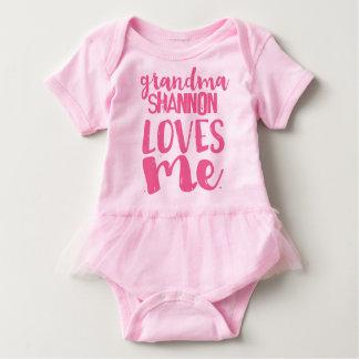 Personalized Pink Tutu Grandma LOVES Me Baby Bodysuit