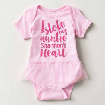 Valentines Themed Personalized Pink Tutu Stole My Aunties Heart Baby Bodysuit
