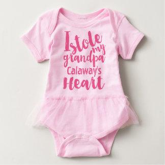 Personalized Pink Tutu Stole My Grandpas Heart Baby Bodysuit
