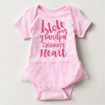 Valentines Themed Personalized Pink Tutu Stole My Grandpas Heart Baby Bodysuit