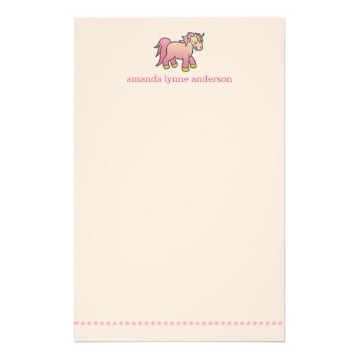 Personalized Pink Unicorn Kids Stationery