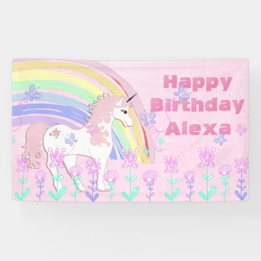 Personalized Pink Unicorn Rainbow Birthday Banner