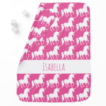 Personalized Pink Unicorn Silhouette Pattern Baby Receiving Blanket