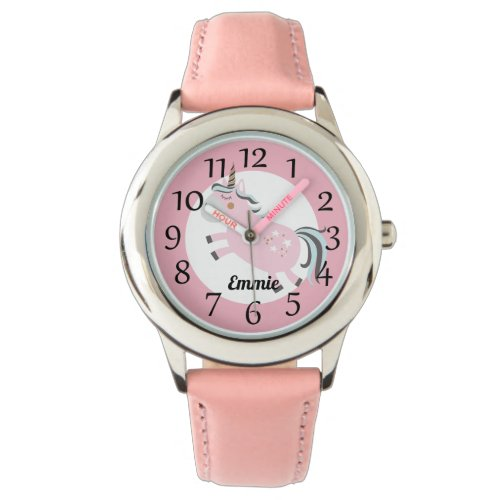 Personalized Pink Unicorn Stars Watch