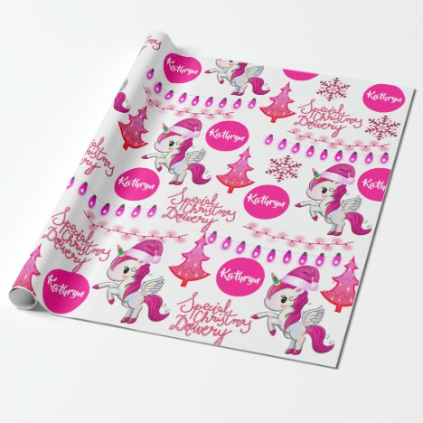Personalized Pink Unicorns Christmas Wrapping Paper