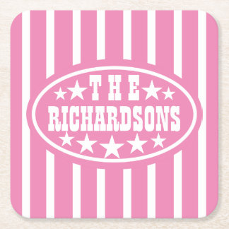 Personalized Pink Vintage Carnival Square Paper Coaster