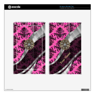 Personalized pink vintage damask pattern kindle fire decals