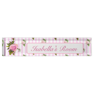 Personalized Pink Vintage Rose Baby Nursery Name Desk Plate