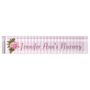Personalized Pink Vintage Rose Baby Nursery Name Plate