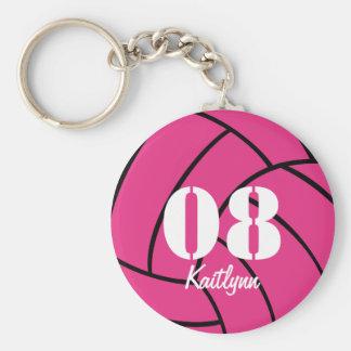 Personalized Pink Volleyball Monogram Keychain