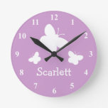 Personalized pink wall clock with butterflies