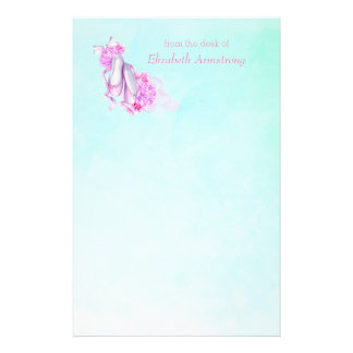 Personalized Pink Watercolor Ballet Shoes Stationery