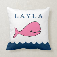 Personalized Pink Whale Nursery Pillow