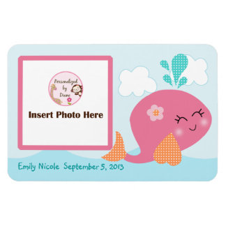 Personalized Pink Whale Photo Magnet Keepsake
