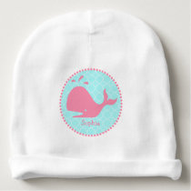 Personalized Pink Whale  Quatrefoil Baby Beanie