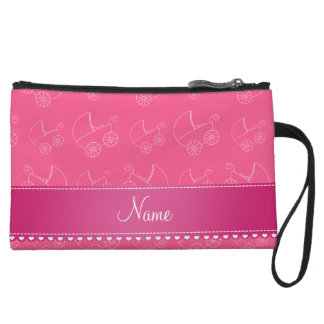 Personalized pink white baby carriages wristlet clutch