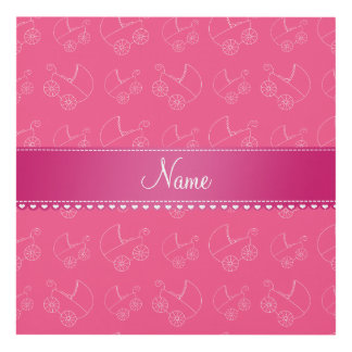 Personalized pink white baby carriages panel wall art