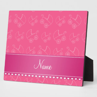 Personalized pink white baby carriages plaque