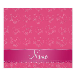 Personalized pink white baby carriages poster