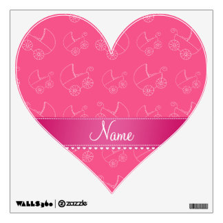 Personalized pink white baby carriages room graphics