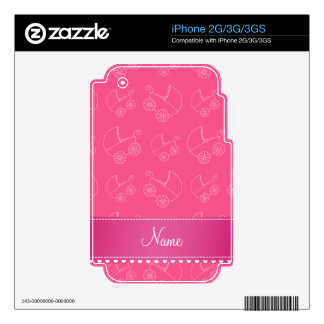 Personalized pink white baby carriages iPhone 3G decal