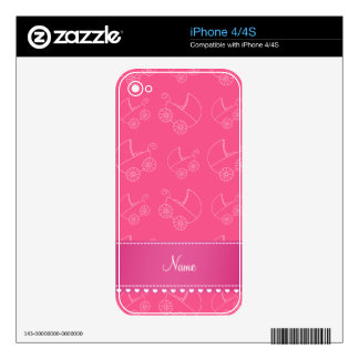 Personalized pink white baby carriages decal for the iPhone 4S