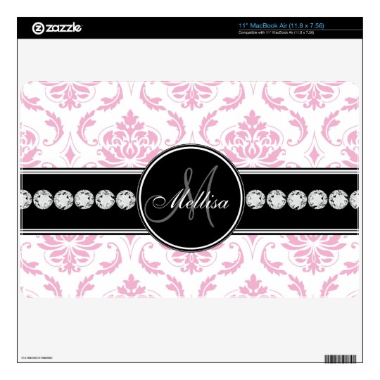 Personalized Pink White Damask Decals For MacBook