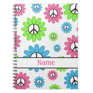 Personalized Pink White Peace Sign Notebook