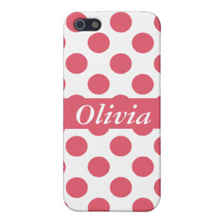 Personalized Pink &White Polka Dots iPhone 5 Cases