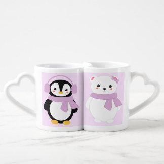 Personalized Pink Winter Penguin and Polar Bear Coffee Mug Set