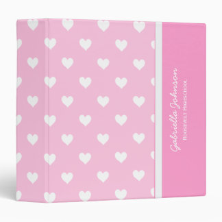 Personalized: Pink With White Heart Binder