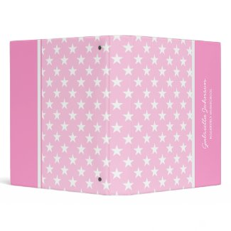 Personalized: Pink With White Stars Binder