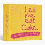 Personalized Pink Yellow Cake Dessert Recipe 3 Ring Binders