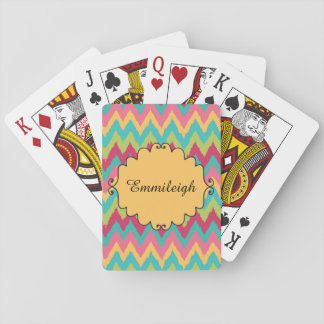 Personalized Pink Yellow Teal Green Chevron Playing Cards