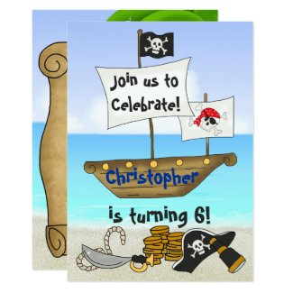 Personalized Pirate Beach Boys Birthday Invitation