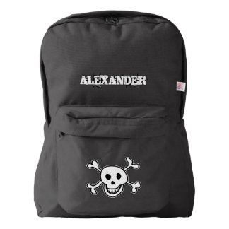 Personalized pirate flag skull and bones backpack