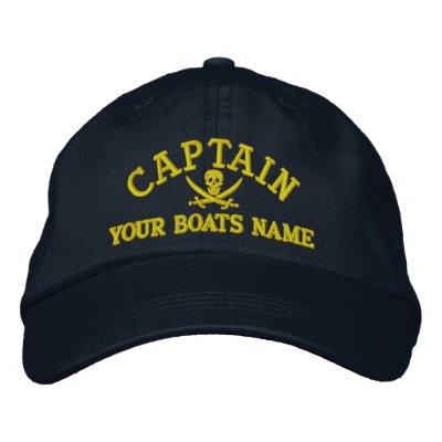 Personalized pirate sailing captains cap zazzle for Personalized last name university shirts